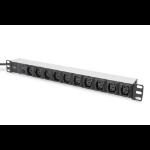 Digitus aluminum outlet strip, 10 outlets, 2 m supply IEC C14 plug