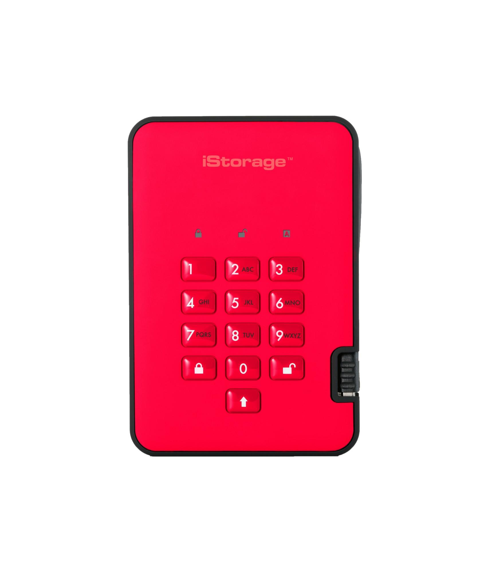 iStorage diskAshur 2 2000GB Red external hard drive
