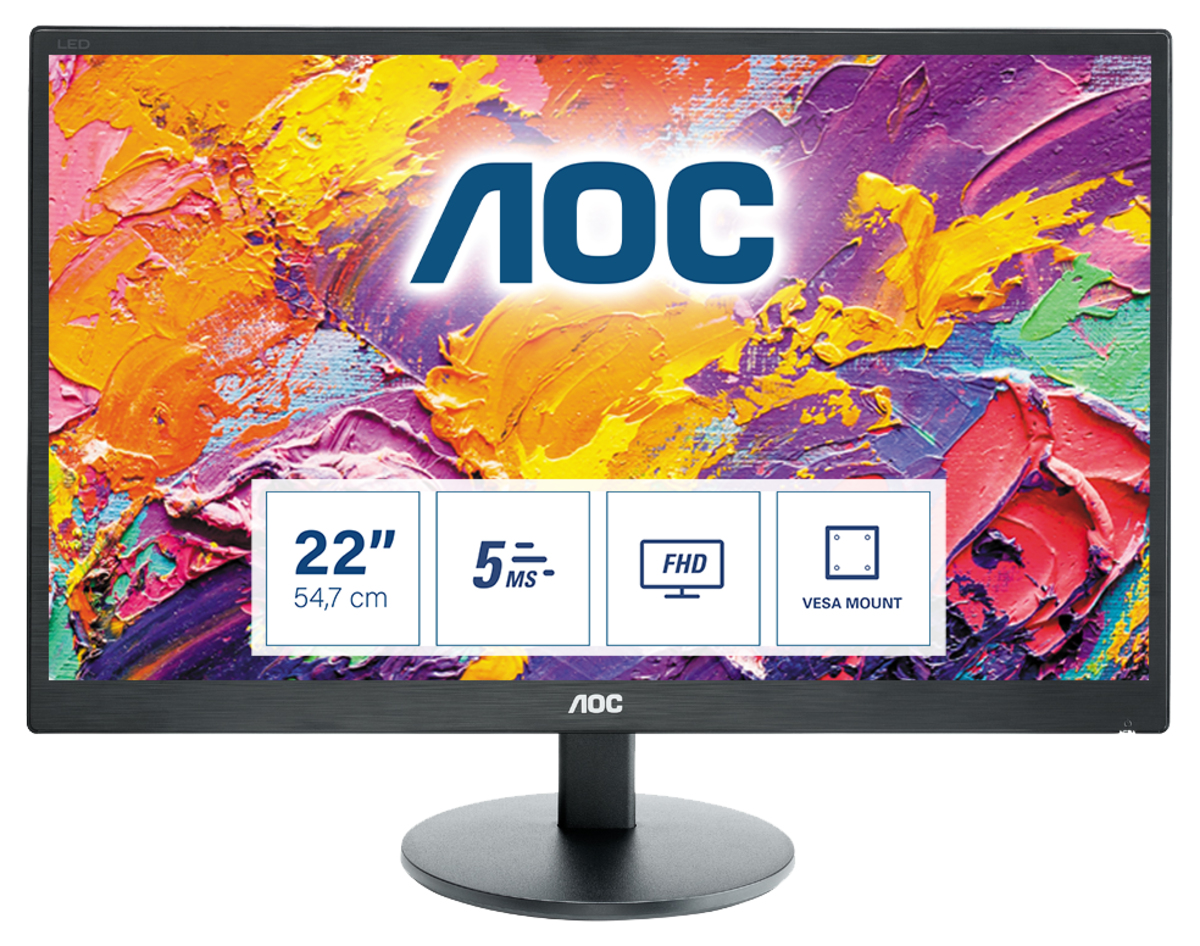"AOC 70 Series E2270SWHN LED display 54.6 cm (21.5"") 1920 x 1080 pixels Full HD Black"