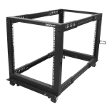 StarTech.com 12U Adjustable Depth Open Frame 4 Post Server Rack w/ Casters / Levelers and Cable Management Hooks 4POSTRACK12U