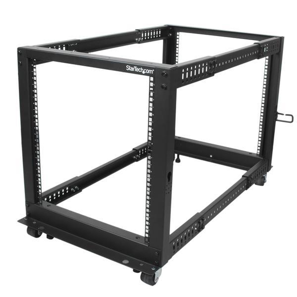 StarTech.com 12U Adjustable Depth Open Frame 4 Post Server Rack w/ Casters / Levelers and Cable Management Hooks
