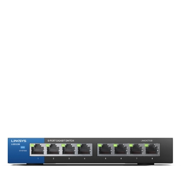 Linksys LGS108 Unmanaged Gigabit Ethernet (10/100/1000) Zwart, Blauw
