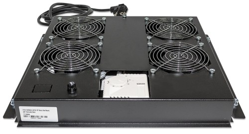 """Intellinet 4-Fan Ventilation Unit for 19"""" Racks, Roof Mount, with Thermostat, Black"""