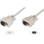 ASSMANN Electronic D-Sub M/F 3m seriële kabel Beige