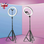 Rapteq 10'' Ring Light with Tripod Stand and Phone Holder, with 3 Colors and 10 Brightness Levels