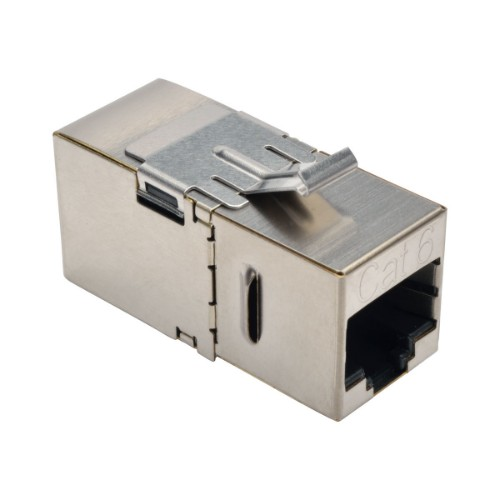 Tripp Lite Cat6 Straight-Through Modular Shielded In-Line Snap-In Coupler w/90-Degree Down-Angled Port (RJ45 F/F)