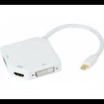 Hypertec 127392-HY video cable adapter 0.14 m Mini DisplayPort DVI-I + VGA (D-Sub) + HDMI White