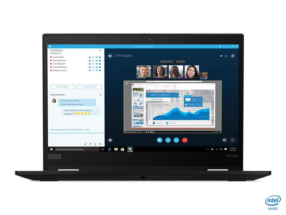 "Lenovo ThinkPad X13 Yoga Híbrido (2-en-1) Negro 33,8 cm (13.3"") 1920 x 1080 Pixeles Pantalla táctil Intel® Core™ i5 de 10ma Generación 8 GB DDR4-SDRAM 256 GB SSD Wi-Fi 6 (802.11ax) Windows 10 Pro"