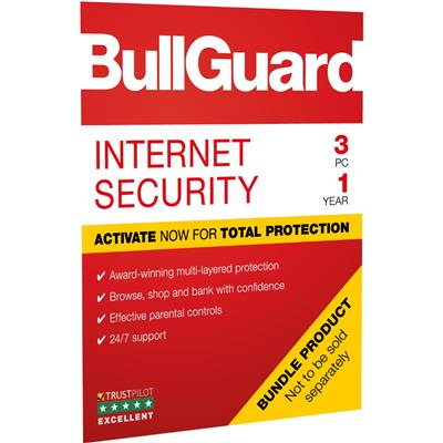 BullGuard Internet Security 2019 1Year/3PC Windows Only 25 pack Soft Box English
