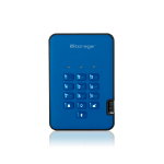 iStorage diskAshur2 256-bit 512GB USB 3.1 secure encrypted solid-state drive - Blue IS-DA2-256-SSD-512-BE