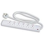 CED EXTENSION LEAD 6WAY WHITE