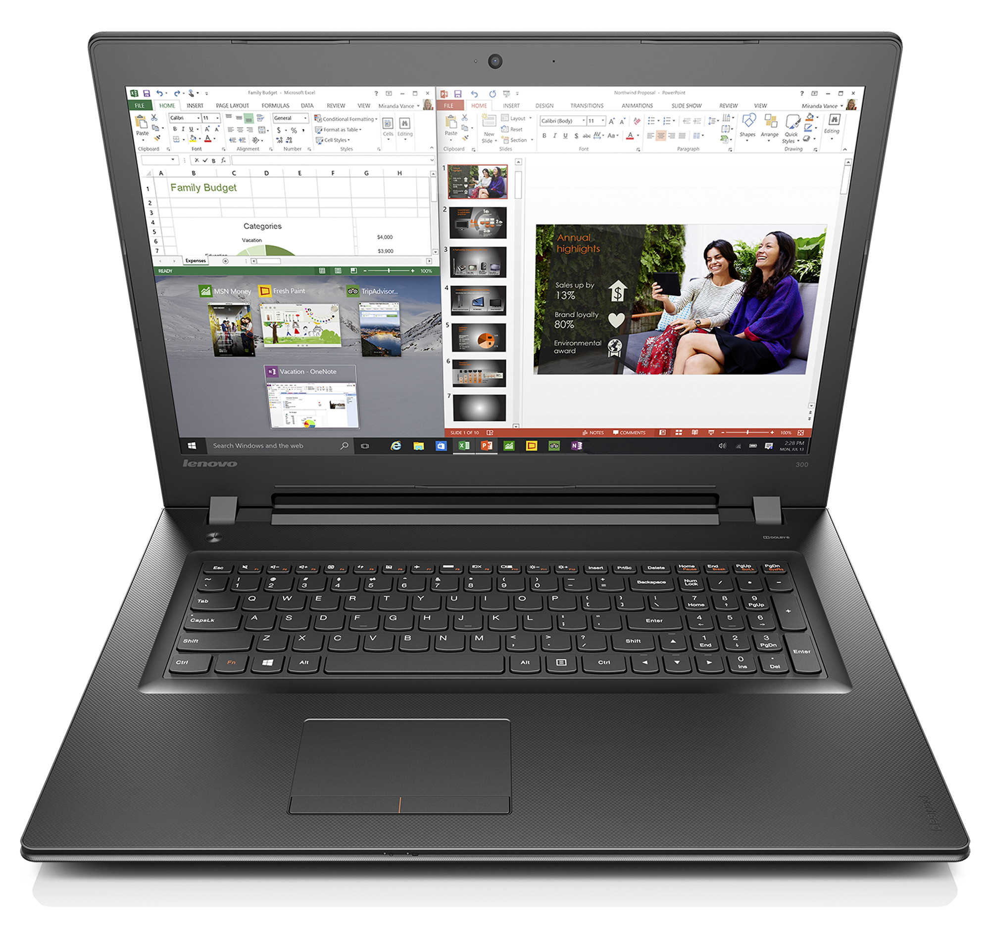 "Lenovo IdeaPad 300 2.3GHz i5-6200U 17.3"" 1600 x 900pixels Black Notebook"