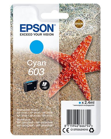 Epson C13T03U24010 (603) Ink cartridge cyan, 130 pages, 2ml