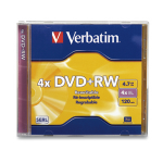 Verbatim DVD+RW 4.7GB 4X Branded 1pk Jewel Case 1 pcs