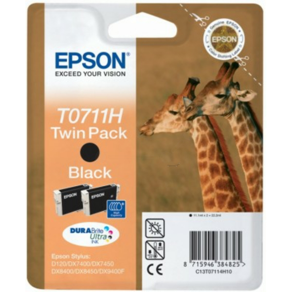 Epson C13T07114H20 (T0711H) Ink cartridge black, 11ml, Pack qty 2