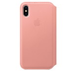 Apple iPhone X Leather Folio Soft Pink