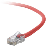 """Belkin Cat5e Patch Cable, 7ft, 1 x RJ-45, 1 x RJ-45, Red networking cable 82.7"""" (2.1 m)"""