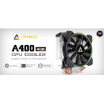 Antec A400 RGB CPU Air Cooler, Direct Heat-Pipies, Silent RGB 12CM PWM Fan, Broad Socket Support, Thermal