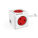 Allocacoc 7400/UKEUPC power extension 1.5 m 4 AC outlet(s) Indoor Red,White