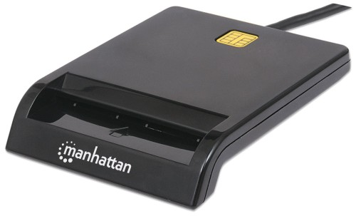Manhattan USB-A Contact Smart Card Reader, 12 Mbps, Friction type compatible, External, Windows or Mac, Cable 105cm, Black, Blister