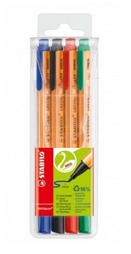 STABILO GREENpoint fineliner Black, Blue, Green, Red 4 pc(s)