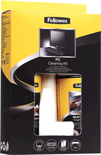 Fellowes 9977909 Screens/Plastics Equipment cleansing wet/dry cloths & liquid equipment cleansing kit