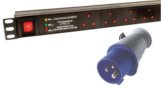 LMS 12 Way Vertical 13A Switched PDU / Power Bar > 32AMP Commando Plug (Rackmount)