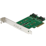StarTech.com 3-Port M.2 SSD (NGFF) Adapter Card - 1 x PCIe (NVMe) M.2, 2 x SATA III M.2 - PCIe 3.0