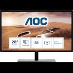 """AOC 79 Series U2879VF computer monitor 71.1 cm (28"""") 3840 x 2160 pixels 4K Ultra HD LCD Black, Silver"""