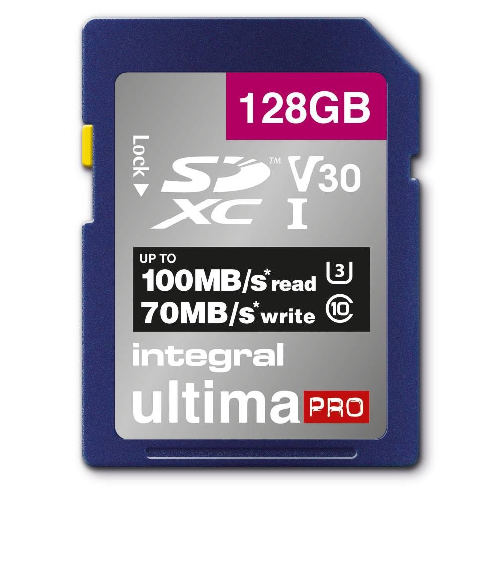 Integral 128GB SD CARD SDXC UHS-1 U3 CL10 V30 UP TO 100MBS READ 70MBS WRITE