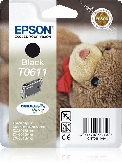 Epson Teddybear inktpatroon Black T0611 DURABrite Ultra Ink