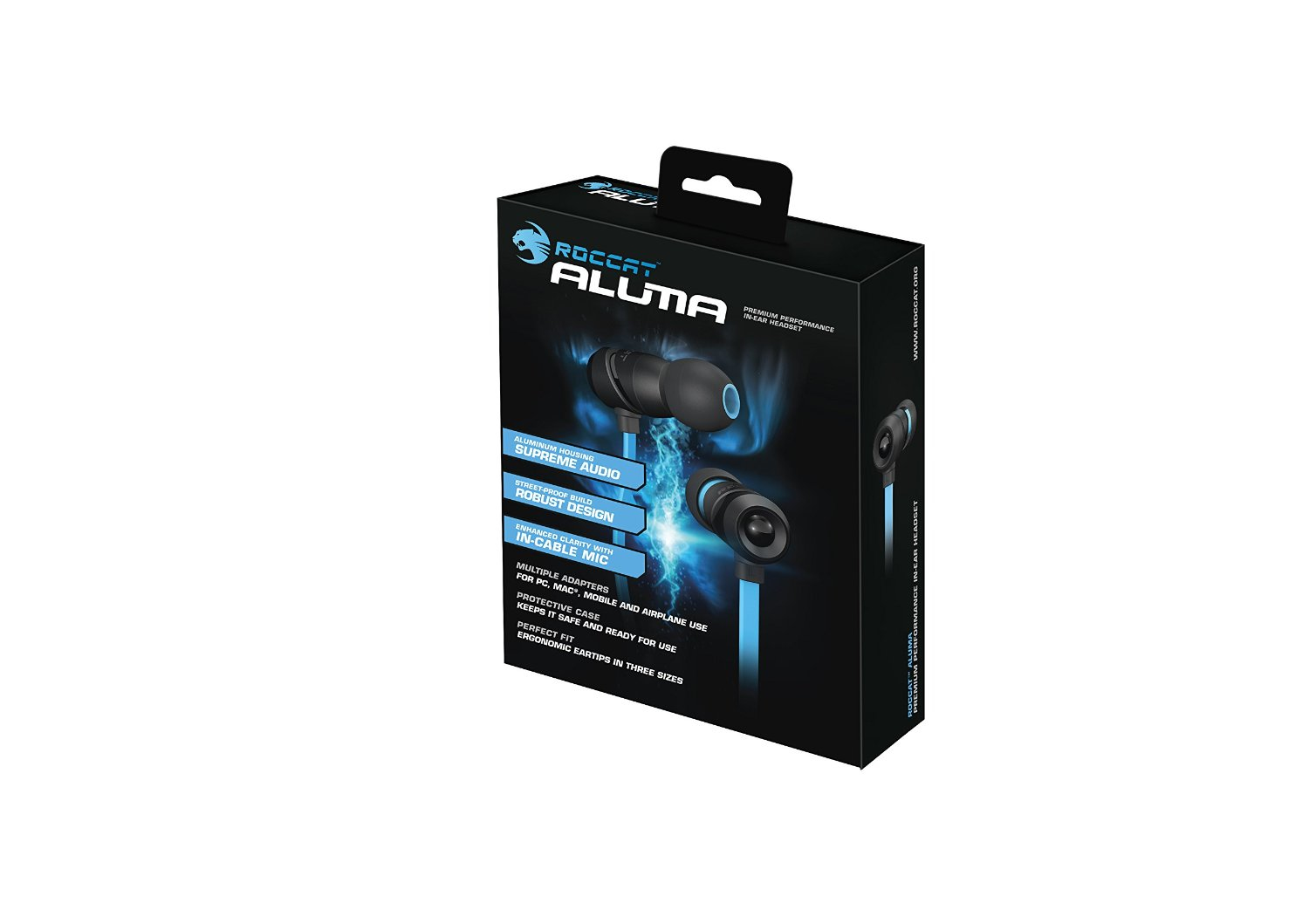 Pc Parts Component Store Roccat Aluma Binaural In Ear Black Headseet Kw Blue Headset