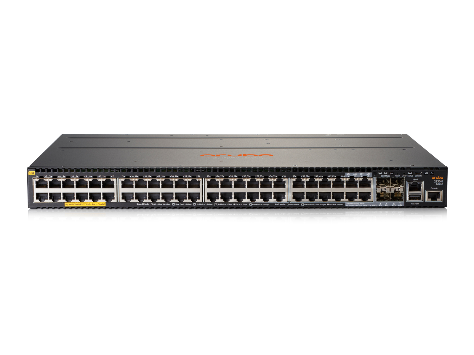 Hewlett Packard Enterprise Aruba 2930M 48G PoE+ 1-slot Managed L3 Gigabit Ethernet (10/100/1000) Grey 1U Power over Ethernet (PoE)