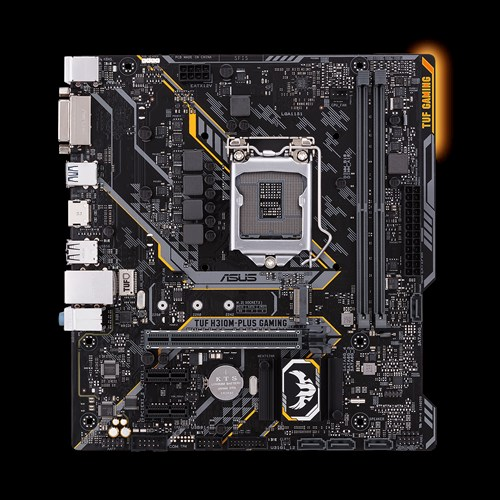 ASUS Intel H310 mATX gaming motherboard with Aura Sync RGB LED lighting, DDR4 2666MHz support, 20Gbps M.2