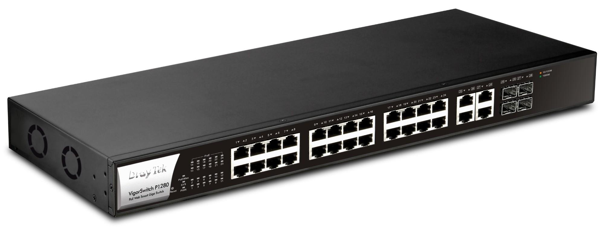 Draytek VigorSwitch P1280 - 28-Port PoE+ Web Smart Gigabit Switch