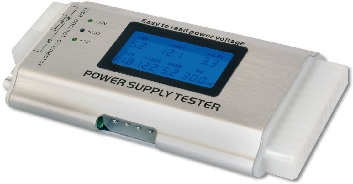 Microconnect PC ATX Power Supply Tester with LCD, (24pin+4,6,8 pin  extension connection, Floppy, S-ATA) additiona