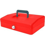 HELIX 25cm Sloping Lid Cash Box Red