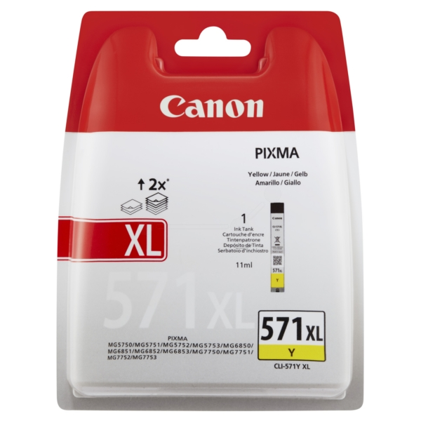 Canon 0334C004 (CLI-571 YXL) Ink cartridge yellow, 680 pages, 11ml