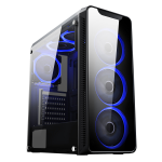 CIT Blaze Mid-Tower Gaming Chassis 6 x Single Ring Fan Blue Tempered Glass