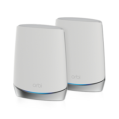 Netgear Orbi WiFi6 router inalámbrico Tribanda (2,4 GHz/5 GHz/5 GHz) Gigabit Ethernet Acero inoxidable, Blanco