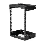 "StarTech.com 15U 19"" Wall Mount Network Rack - Adjustable Depth 12-20"" 2 Post Open Frame Server Room Rack for AV/Data/ IT Communication/Computer Equipment/Switch w/Cage Nuts & Screws"