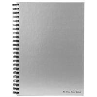 Pukka Notebook Wirebound Hardback Perforated Ruled Margin 90gsm 160pp A4 Silver Ref WRULA4 [Pack 5]
