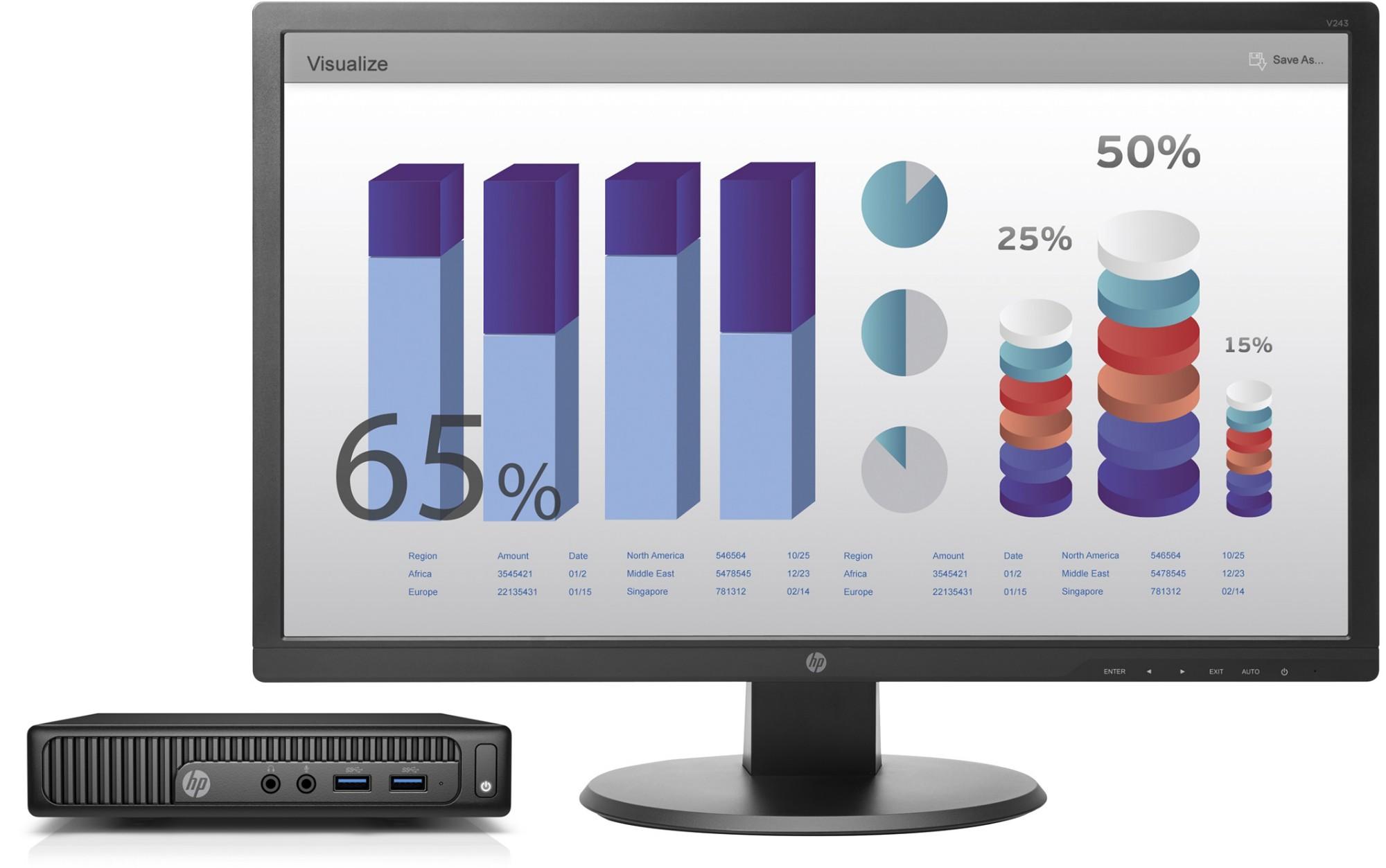 HP 260 G2 Mini + V243 3.7GHz i3-6100 Desktop Black Mini PC