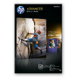 HP Advanced Glossy Photo Paper papel fotográfico Negro, Azul, Blanco Brillo
