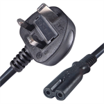 Connekt Gear 5M UK Plug to 2 pin C7 (Figure 8) Mains Power Cable Black