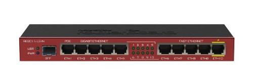 Mikrotik RB2011ILS-IN wired router Gigabit Ethernet Black, Bordeaux