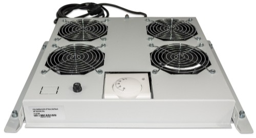 """Intellinet 4-Fan Ventilation Unit for 19"""" Racks, Roof Mount, with Thermostat, Grey"""