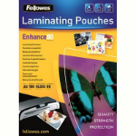 FELLOWES LAMINATING POUCH 54 X 86MM 125 MICRON GLOSS PACK 100