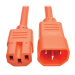 Tripp Lite Heavy-Duty Computer Power Cord Lead Cable, 15A, 14 AWG (IEC-320-C14 to IEC-320-C15), Orange, 1.83 m (6-ft.)