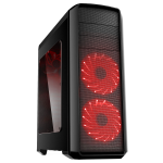 GameMax Volcano Gaming PC Case Red LED Front Fans